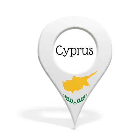 3D pinpoint with flag of Cyprus isolated on white photo