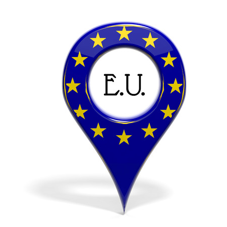 european map: 3D pinpoint with flag of Europe isolated on white