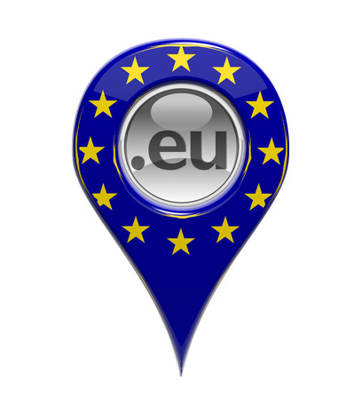 3D pin domain marker with European flag isolated photo
