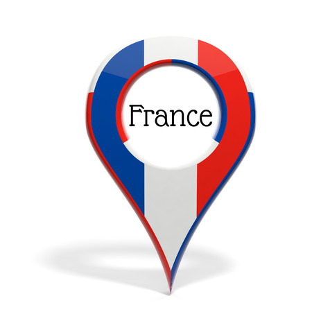 3D pinpoint with flag of France isolated on white photo