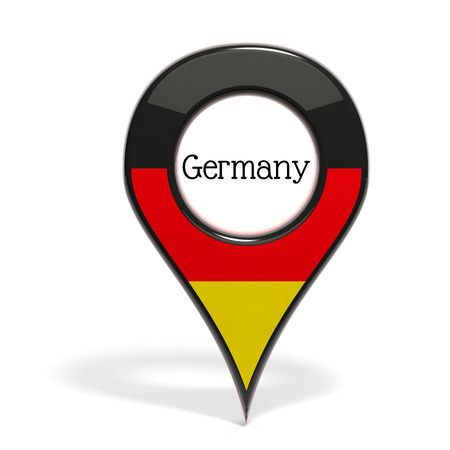 pinpoint: 3D pinpoint with flag of Germany isolated on white