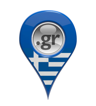 gr: 3D pin domain marker with Greek flag isolated