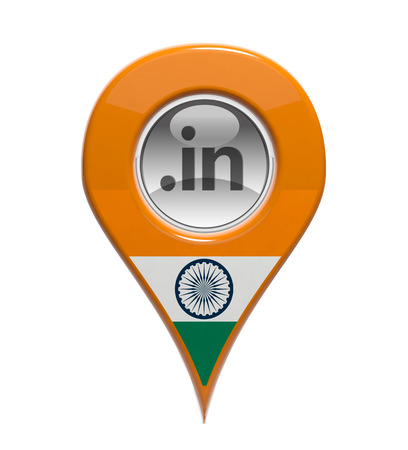 3D pin domain marker with Indian flag isolated photo