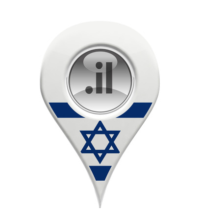 israeli: 3D pin domain marker with Israeli flag isolated