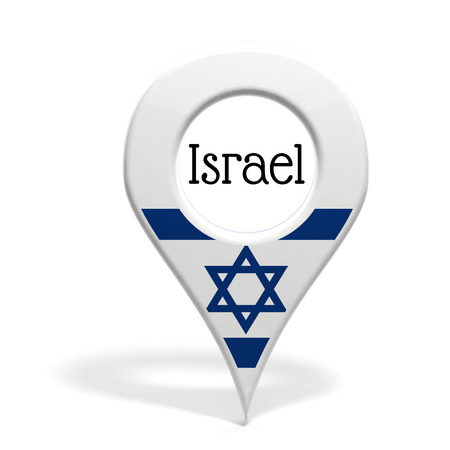pinpoint: 3D pinpoint with flag of Israel isolated on white