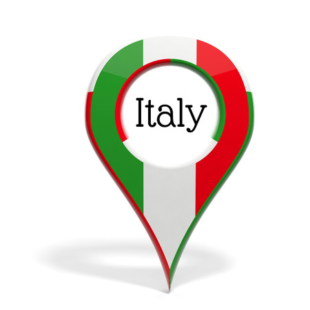 3D pinpoint with flag of Italy isolated on white photo