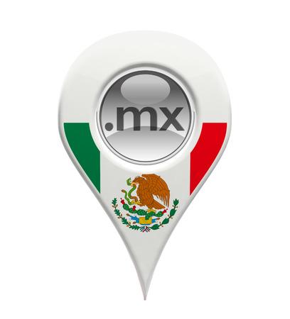 drapeau mexicain: Domaine 3D marqueur de pin avec le drapeau mexicain isolé
