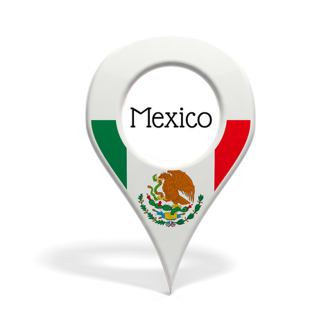 pinpoint: 3D pinpoint with flag of Mexico isolated on white