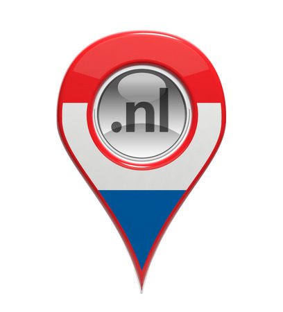 nl: 3D pin domain marker with Dutch flag isolated