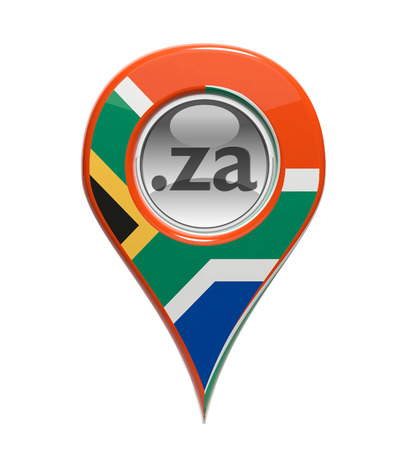 3D pin domain marker with South African flag isolated photo