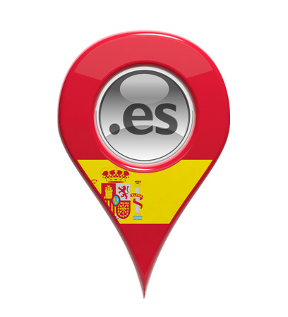 3D pin domain marker with Spanish flag isolated
