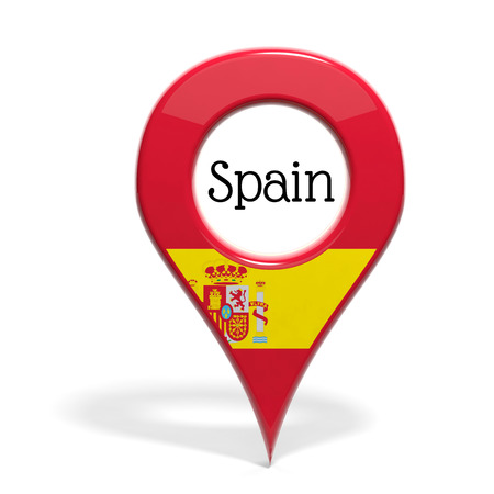 pinpoint: 3D pinpoint with flag of Spain isolated on white