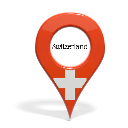 pinpoint: 3D pinpoint with flag of Switzerland isolated on white