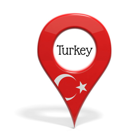 pinpoint: 3D pinpoint with flag of Turkey isolated on white
