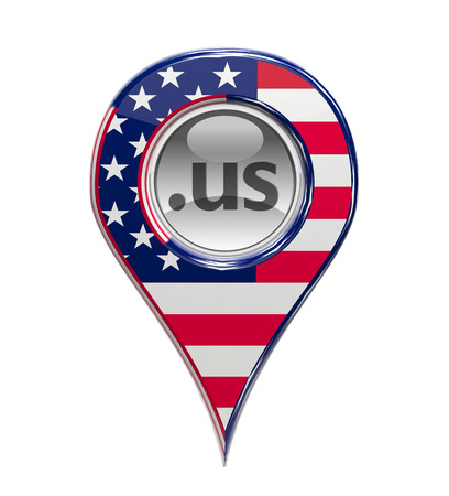 3D pin domain marker with American flag isolated photo