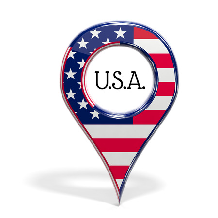 pinpoint: 3D pinpoint with flag of United States isolated