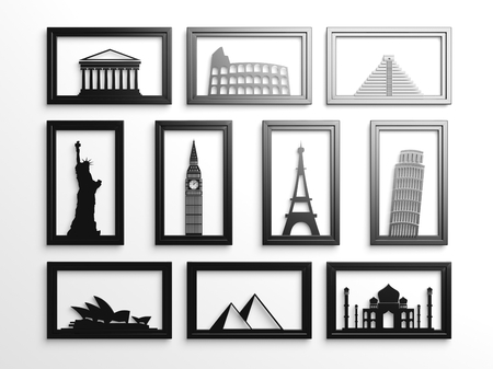 Collection of worlds most famous landmarks in frames photo