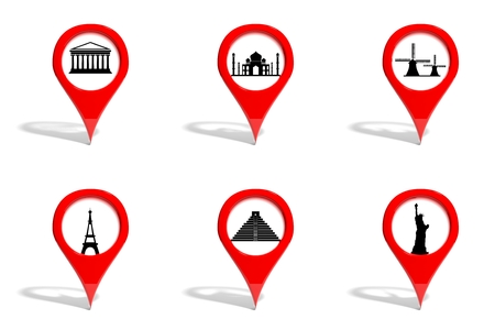 Worlds most famous landmarks on 3D pins collection isolated