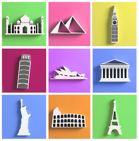 Colorful collection of worlds most famous landmarks photo