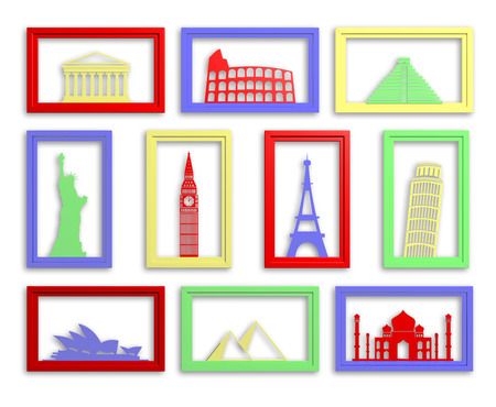 Colorful collection of worlds most famous landmarks in frames photo