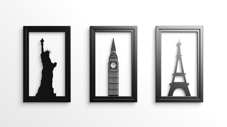 Set of worlds most famous landmarks in frames isolated photo
