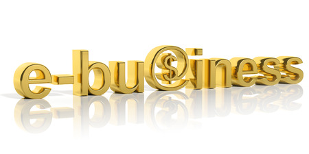 3D gold e-business text with web symbol isolated photo