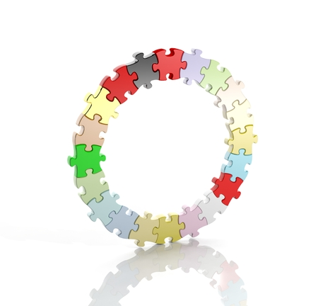 Colorful jigsaw puzzle pieces in a circle isolated photo