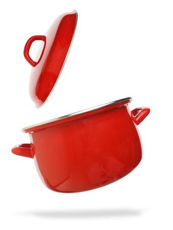 steel pan: Olla roja aislada en el fondo blanco Foto de archivo