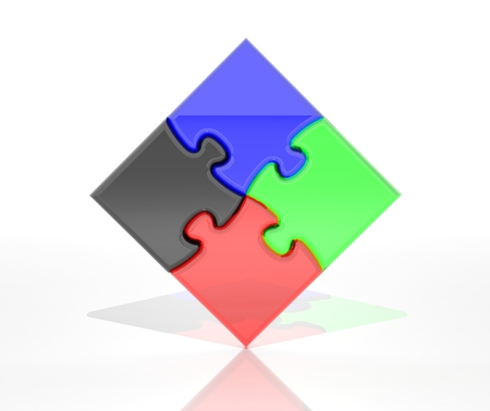 Colorful jigsaw puzzle pieces isolated on white background  photo