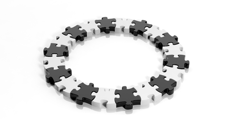 Black and white puzzle pieces in a circle isolated photo