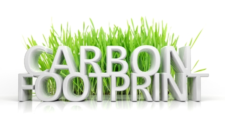 greenhouse gas: Green grass with Carbon footprint 3D text isolated