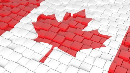 3D abstract Canadian flag background  photo
