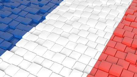 3D abstract background with flag of France photo