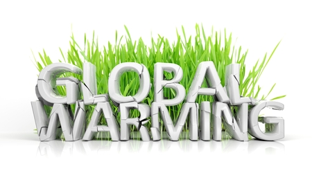 Grass with broken Global Warming 3D text ecological concept isolated photo