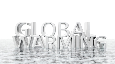Sinking Global Warming 3D text ecological concept isolated photo