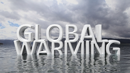 Sinking Global Warming 3D text with nature background photo