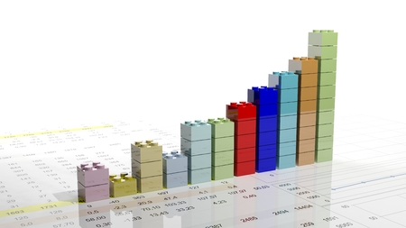 building blocks business: 3D graph chart made with blocks isolated Stock Photo