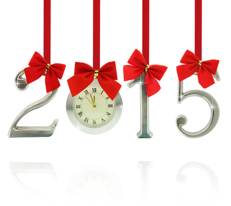 2015 number ornaments with clock hanging on red ribbons photo