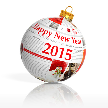 Newspaper happy new year 2015 ball on white background  photo