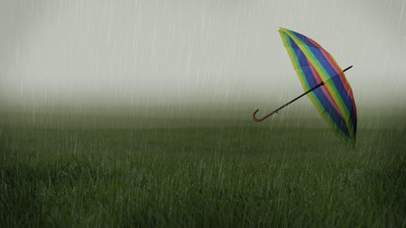 Rainy landscape with umbrella carried away by the wind photo