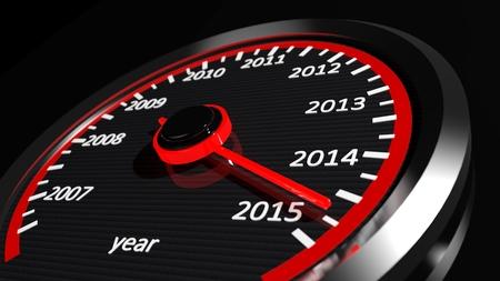 Conceptual 2015 year speedometer Stock Photo