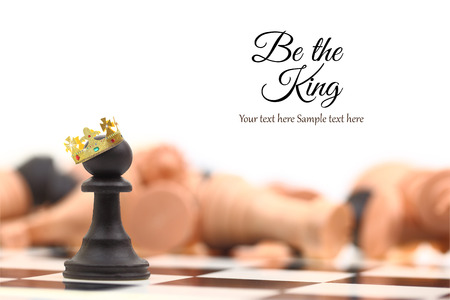A pawn winner standing crowned as king with copy-space photo