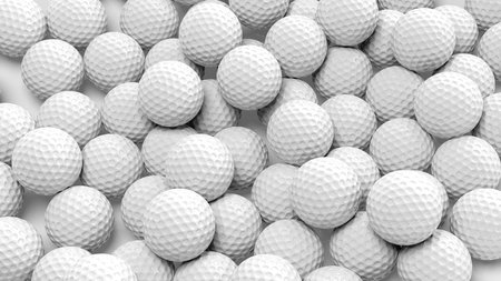 Many golf balls together closeup isolated on white  Stock Photo