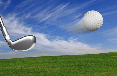 Golf ball with club in action with outdoors background photo