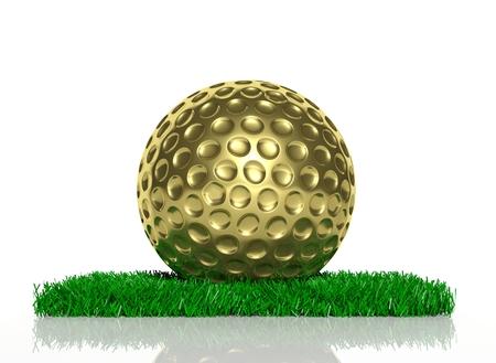 3d ball: Gold golf ball on patch of green grass  Stock Photo