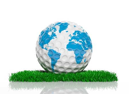 Golf ball with world map on green grass photo