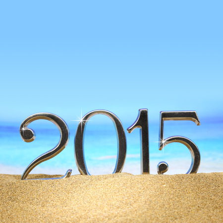 Year 2015 numbers on the beach photo