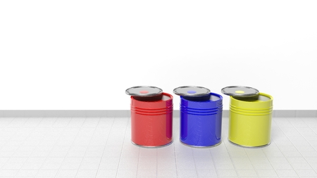 lids: Cans full with paint with lids on the floor Stock Photo