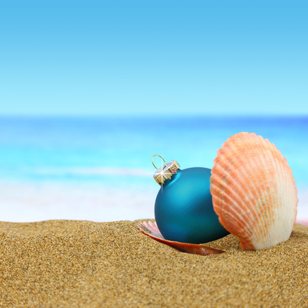 Christmas ball in a sea shell on the beach photo