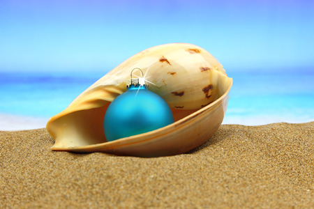 Christmas ball in a sea shell on the beach photo